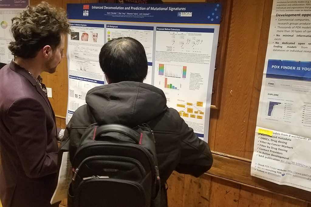 Aaron Chevalier (Graduate student in Bioinformatics) - Aaron presenting a poster at the annual Informatics Technology for Cancer Research (ITCR) meeting (May, 2019).